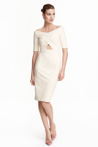 Fitted dress - Natural white - Ladies | H&M CN 1