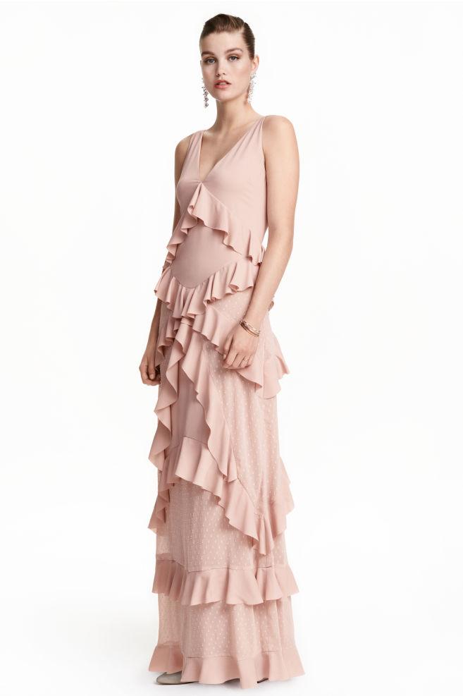 Vestido largo de volantes - Rosa empolvado - | H&M ES
