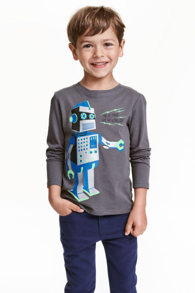 Long-sleeved T-shirt - Dark grey/Robot - Kids | H&M CN 1