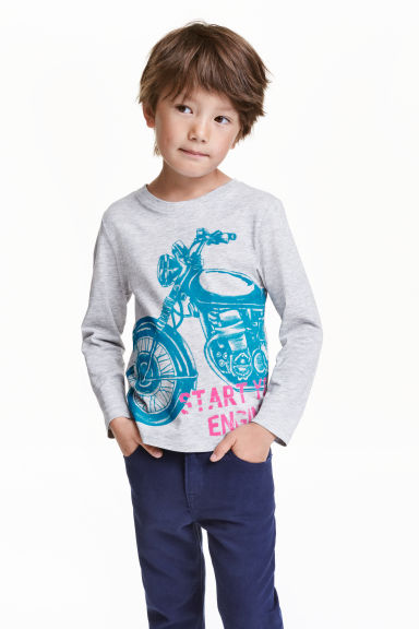 Long-sleeved T-shirt - Lt.grey/Motorcycle - Kids | H&M CN 1