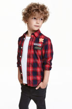 Cotton shirt - Red/Checked - Kids | H&M CN 1
