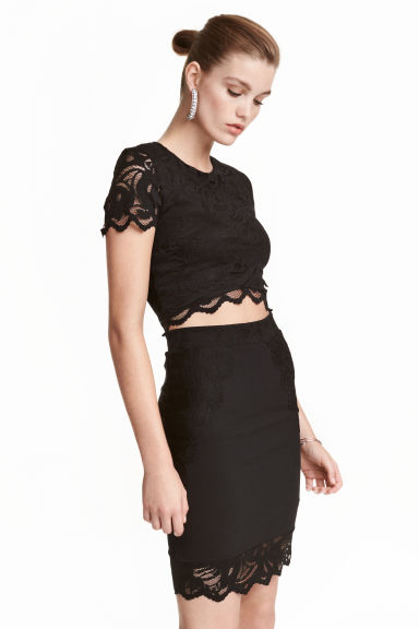 Lace crop top - Black - Ladies | H&M CN 1