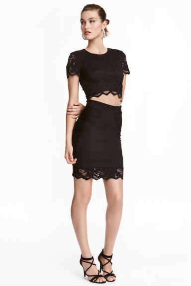 Gonna corta con pizzo - Nero - DONNA | H&M IT 1