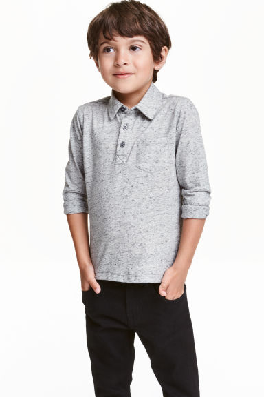Long-sleeved top - Grey marl - Kids | H&M CN 1