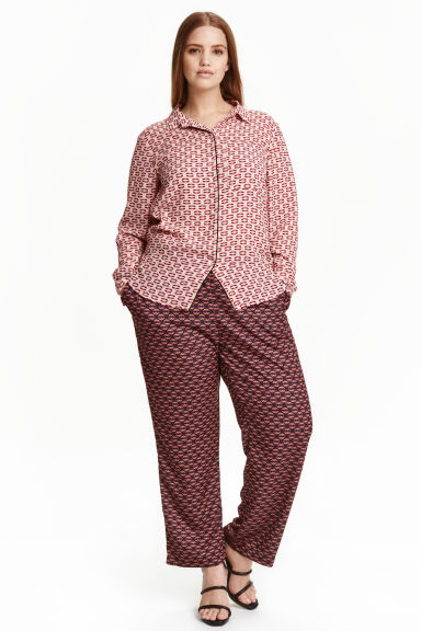 H&M+ Wide trousers - Black/Patterned - Ladies | H&M CN 1