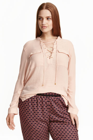 H&M+ Laced chiffon blouse - Powder beige - Ladies | H&M CN 1