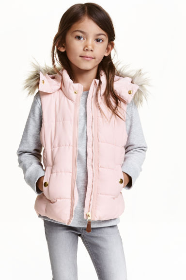 Padded gilet with a hood - Light pink - Kids | H&M CN 1
