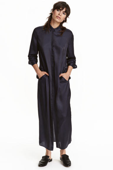 Satin shirt dress - Dark blue - Ladies | H&M CN 1