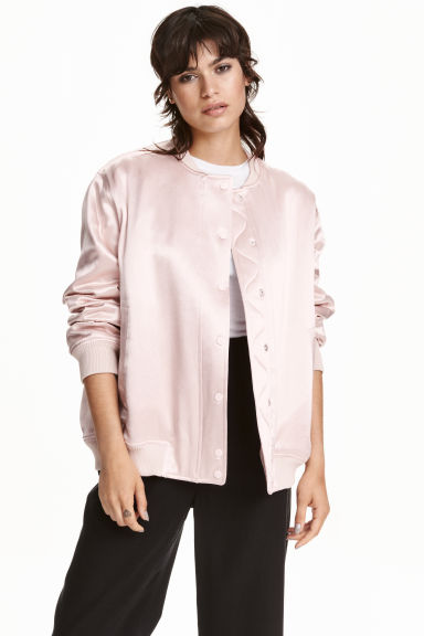Satin bomber jacket - Light pink - Ladies | H&M CN 1