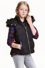 Padded bodywarmer with a hood - Black - Kids | H&M CN 1