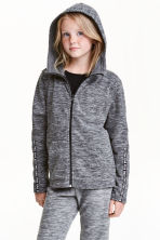 Fleece jacket with a hood - Dark grey marl - Kids | H&M CN 1