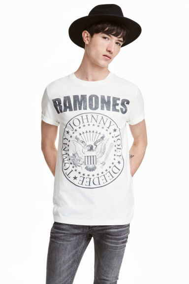 T-shirt with a print motif - White/Ramones - Men | H&M CN 1