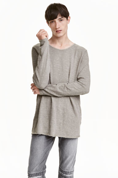 Fine-knit cotton jumper - Grey - Men | H&M CN