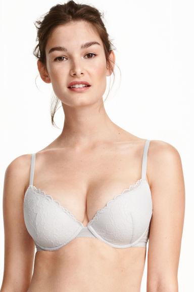 Lace push-up bra - Light grey - Ladies | H&M CN 1