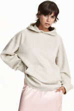 Oversized hooded top - Light grey marl - Ladies | H&M CN 1