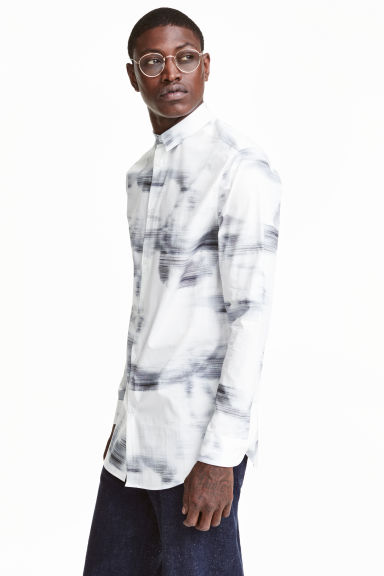 Patterned cotton shirt - White/Patterned - Men | H&M CN 1