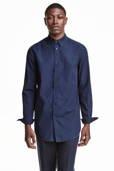 Denim shirt - Dark denim blue - Men | H&M CN 1