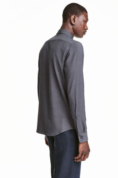 Shirt with a nepped texture - Dark grey - Men | H&M CN 1