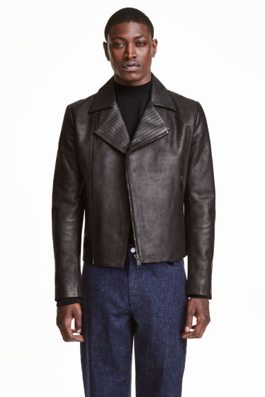 Leather biker jacket - Black - Men | H&M CN 1
