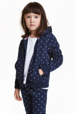 Hooded jacket - Dark blue/Spotted - Kids | H&M CN 1