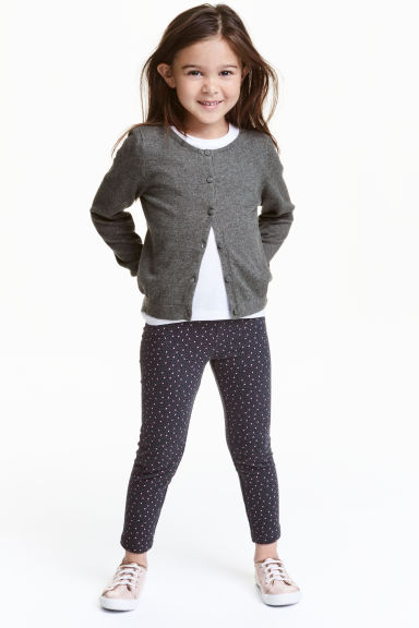 Sturdy jersey leggings - Dark grey/Hearts - Kids | H&M CN 1