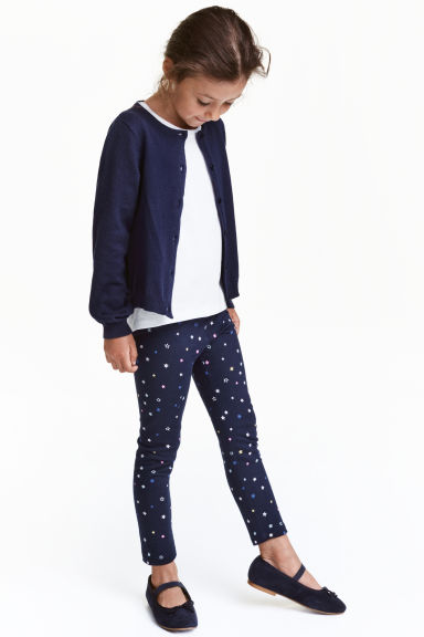 Sturdy jersey leggings - Dark blue/Stars - Kids | H&M CN 1
