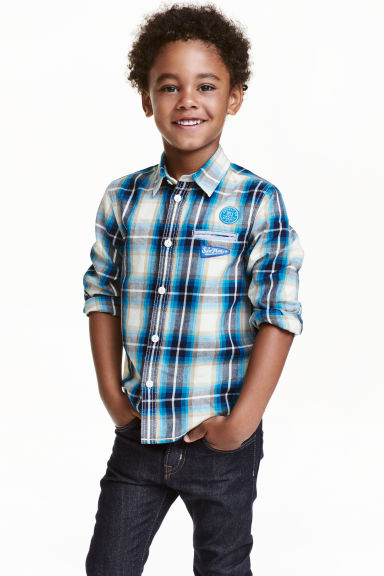 Cotton shirt - Turquoise/Checked - Kids | H&M CN 1