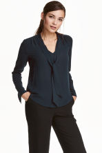 Tie-neck blouse - Dark blue - Ladies | H&M CN 1