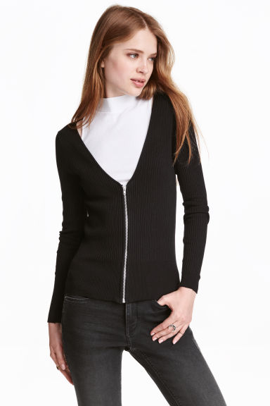 Cardigan with a zip - Black -  | H&M CN