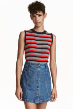 Sleeveless top - Dark blue/Red striped -  | H&M CN 1