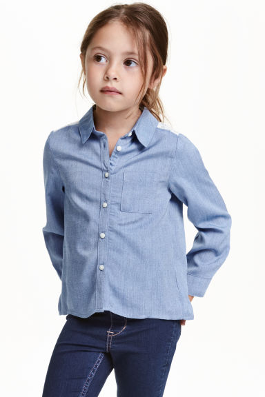 Long-sleeved blouse - Denim blue - Kids | H&M GB 1