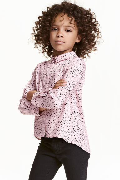 Long-sleeved blouse - Light pink/Heart - Kids | H&M CN