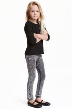 Treggings with studs - Dark grey washed out - Kids | H&M CN 1