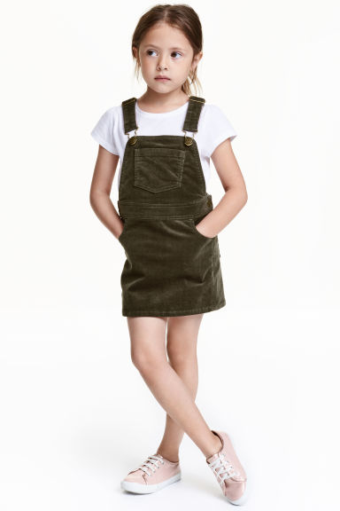 Corduroy dungaree dress - Khaki green - Kids | H&M CN 1