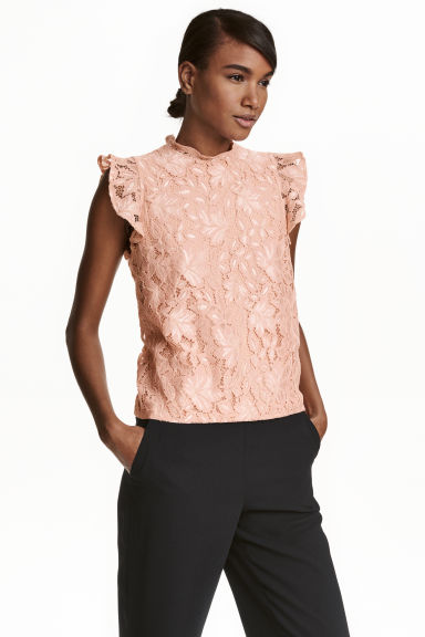Lace top with frilled sleeves - Powder beige -  | H&M CN 1