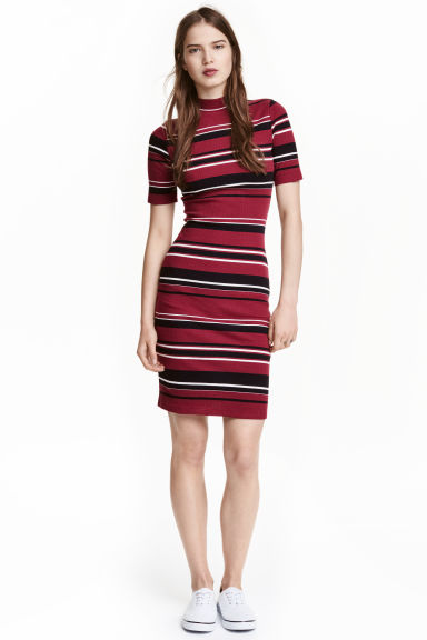 Ribbed jersey dress - Dark red/Striped - Ladies | H&M CN 1