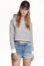 Cropped hooded top - White/Black striped - Ladies | H&M 2