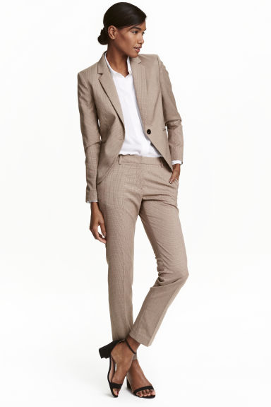 Suit trousers - Beige/Checked - Ladies | H&M CN 1