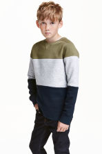 Block-patterned sweatshirt - Khaki green -  | H&M CN 1