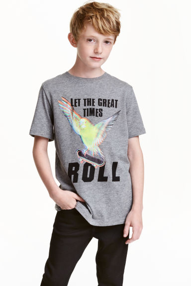 Printed T-shirt - Grey/Skateboard - Kids | H&M CN 1