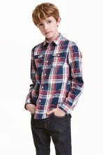Checked cotton shirt - Dark blue/Checked - Kids | H&M CN 1