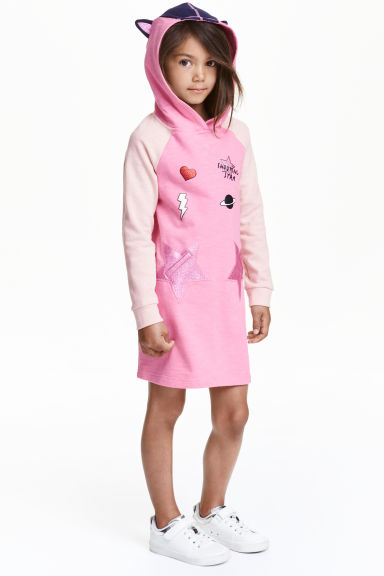 Printed sweatshirt dress - Pink/Stars -  | H&M CN 1