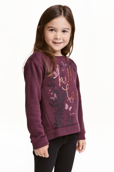 Sweatshirt with sequins - Burgundy - Kids | H&M CN 1