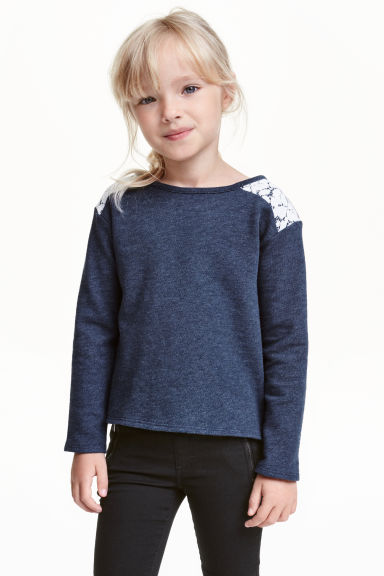 Sweatshirt with lace - Dark blue - Kids | H&M CN 1