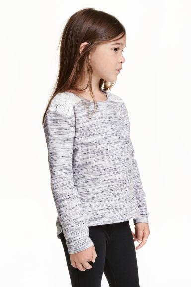 Sweatshirt with lace - Light grey marl - Kids | H&M CN 1