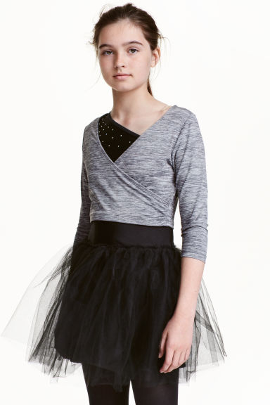 Dance crop top - Dark grey marl - Kids | H&M CN 1