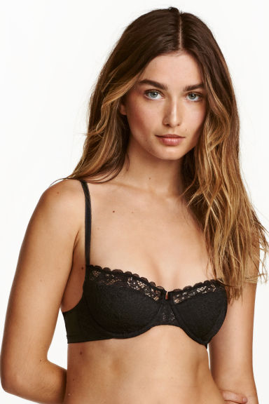 Reggiseno balconcino in pizzo - Nero - DONNA | H&M IT 1