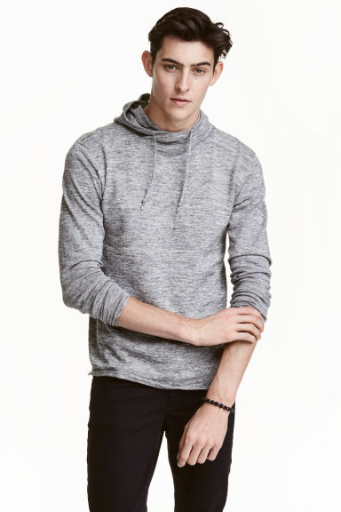 Hooded fine-knit cotton jumper - Grey marl - Men | H&M CN 1