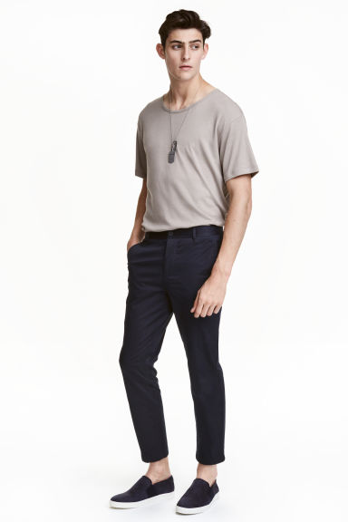 Slim Cropped Chinos - Dark blue - Men | H&M CN 1