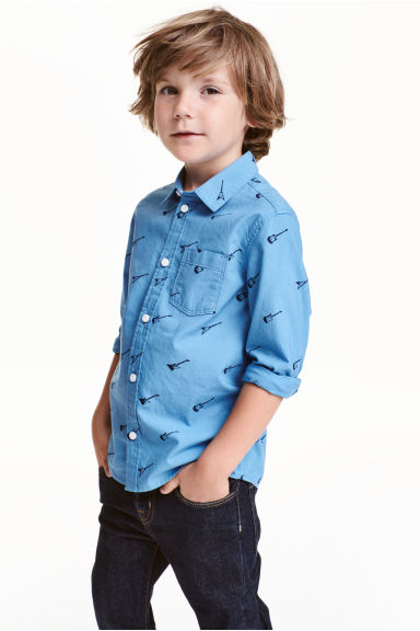 Printed cotton shirt - Blue/Guitar - Kids | H&M CN